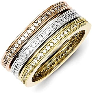White Sterling Silver Ring Band Stackable Micro pave Vermeil Polished Trio