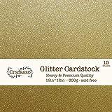 Crafasso 12' x 12' 300gms Heavy & Premium Glitter cardstock, 15 Sheets, Gold