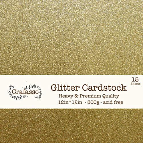 Crafasso 12 x 12 300gms Heavy & Premium Glitter cardstock, 15 Sheets, Gold
