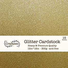 Crafasso 12″ x 12″ 300gms Heavy & Premium Glitter cardstock, 15 Sheets, Gold