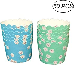 BESTONZON 50pcs Paper Baking Cups Food Grade Ink and Paper Grease Proof Cupcake Liners Stackable Muffin Cups(Random Color)