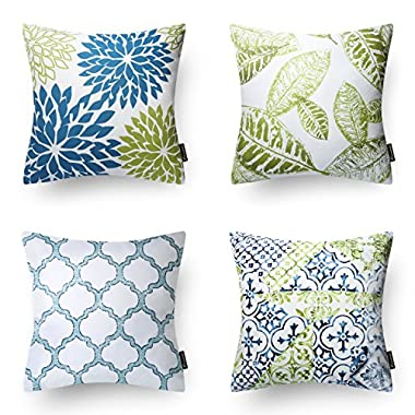 PHANTOSCOPE New Living Blue&Green Decorative Throw Pillow Case Cushion Cover 18  x 18  45 x 45 cm Set of 4