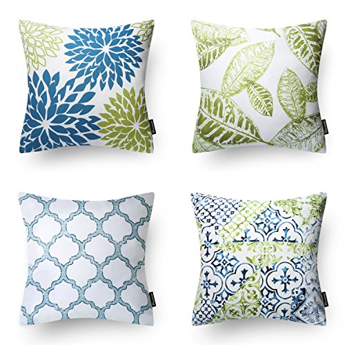 Phantoscope New Living Blue&Green Decorative Throw Pillow Case Cushion Cover 18' x 18' 45 x 45 cm Set of 4