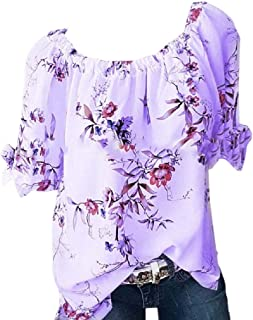WSPLYSPJY Women V-Neck Tops Peplum Summer Short Sleeve Floral T Shirt