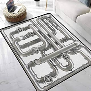 Industrial Super Area Rugs 3x5 ft Maze of Pipelines Faucets and Valve Gasoline Engineering Themed Print Kids Carpet Playmat Rug