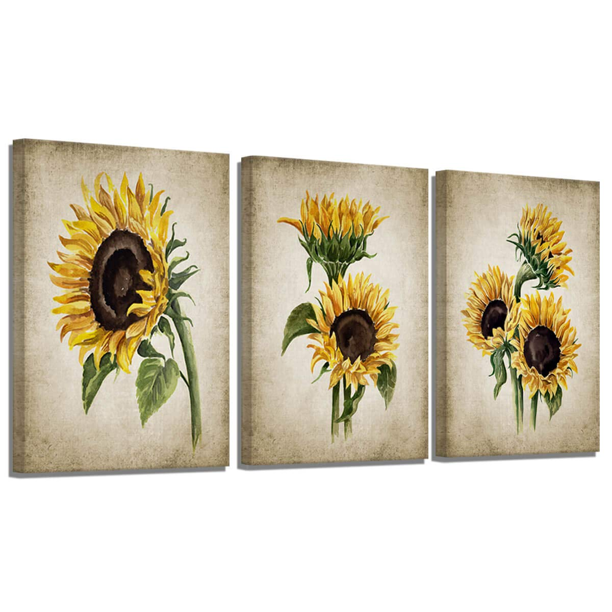 Amazon Com Sunflower Kitchen Decor Simple Life Rustic Wall Decor Vintage Watercolor Sunflower Wall Pictures For Bedroom 3 Pieces Canvas Wall Art Flower Painting Kitchen Wall Decor For Women Gallery Wrapped Home