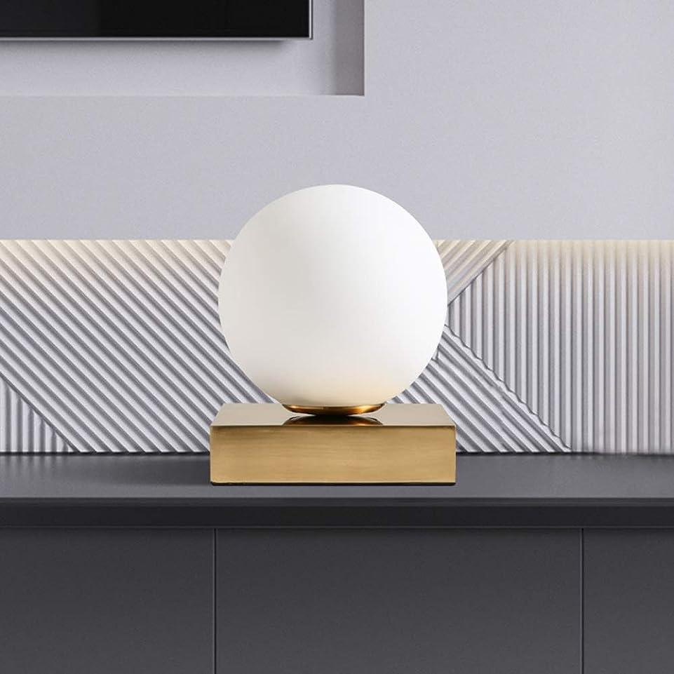 実質的に樫の木ぎこちないRjj 北欧の現代の高級黄金のランプのリビングルームの寝室のベッドサイドデスクレストランの乳白色のガラスのランプシェード暖かい光15x15x18.5cm あたたかい