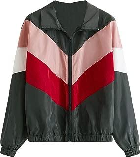 Milumia Women Mesh Drawstring Colorblock Zipper Pocket Hooded Lightweight Windbreaker Jacket Coat