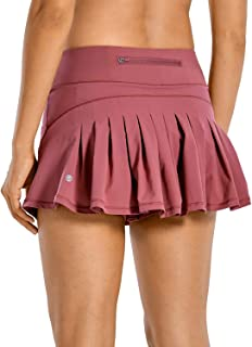 CRZ YOGA Women's Quick-Dry Athletic Tennis Skirts Volleyball Shorts Mid-Waisted Pleated Skirts Sports Skorts