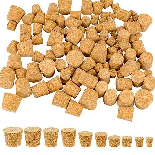 Hysagtek - Tappi in sughero conici, 120 pezzi, tappi in sughero naturale, tappi per bottiglie di birra in legno, 10 misure
