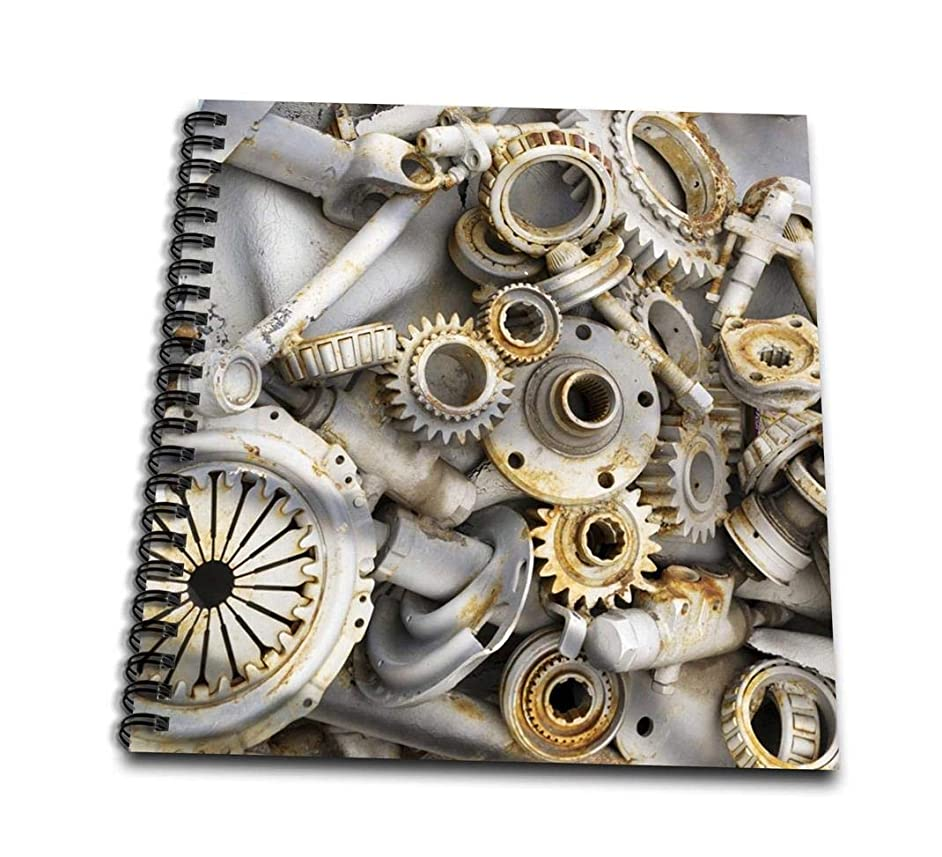 3dRose db_45007_1 Steampunk Rusty Parts-Drawing Book, 8 by 8-Inch