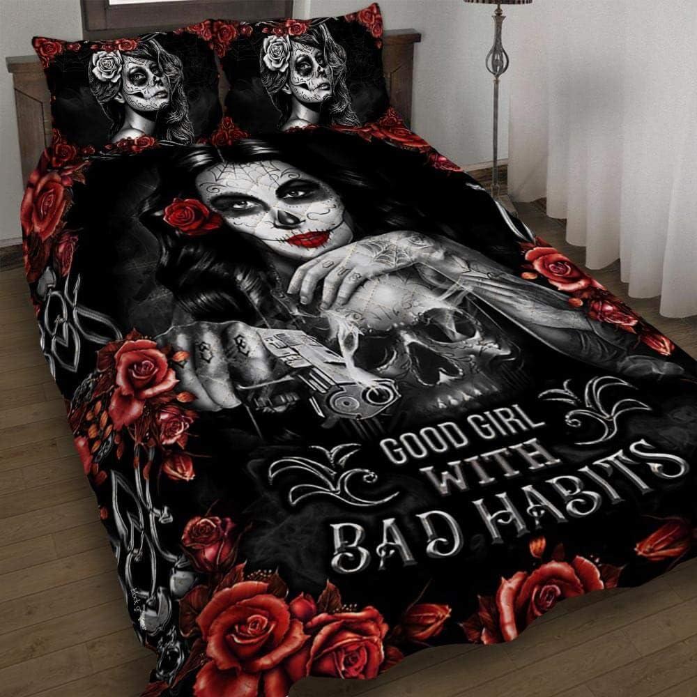 GEEMBI Ranking TOP8 Quilt Bedding Set-Skull Girl. Good with Habits Bad Q Bombing free shipping Girl