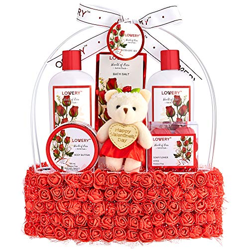Valentine Day Spa Gift Basket for Women – Red Rose Scented in Floral Handmade Basket With Bubble...