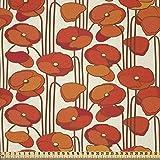 ABAKUHAUS Blumen Stoff als Meterware, Mohnblumen Retro