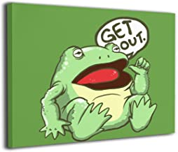 Lisawand Get Out Something Awful Frog Painting Stretched and Framed Canvas Wall Art Canvas Prints Wall Picture Hanging for Living Room Office Decor 20