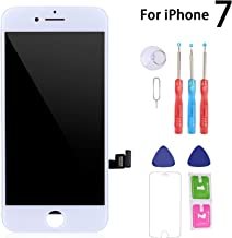 Screen Replacement Compatible for iPhone 7 White, MasRepair Digitizer Display Touch Screen Frame Assembly Set LCD Screen Display(Complete Tools Kit Included)