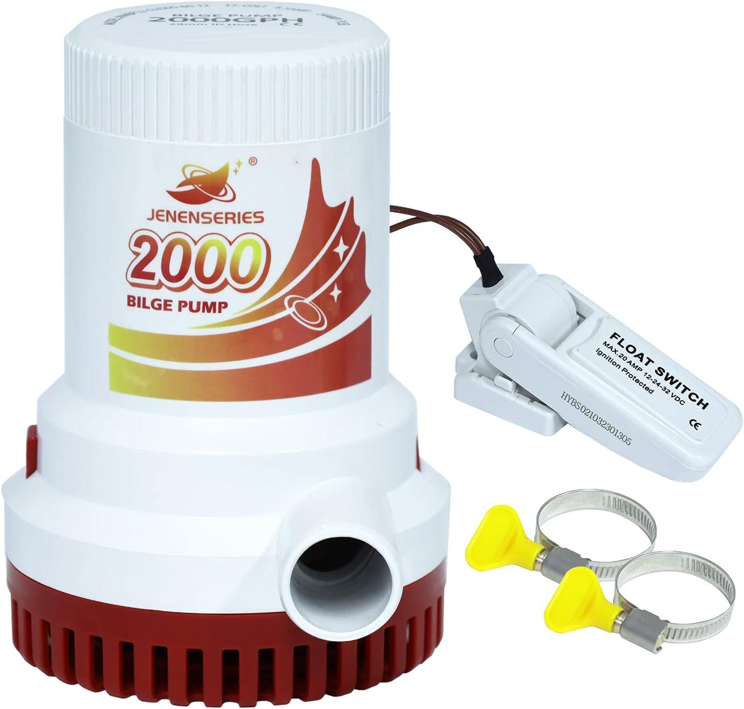 JENENSERIES Bilge Special sale item Pumps 2000 Elegant GPH for Electric mari Non-Automatic