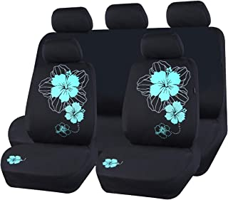 CAR PASS New Arrival Pretty Flower Cloth Universal Seat Covers, Fit for Suvs,Sedans,Vans,Trucks (Black and Mint Blue)