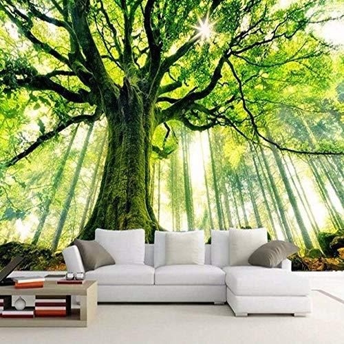 Fotomurales Árbol Verde Grande 3D Papel Pintado Tejido No Tejido Foto Papel Tapiz Cartel Pared Foto Moderna Decoración De Pared Sala Cuarto Oficina Salón 300X210Cm