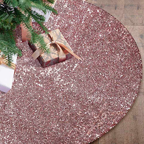Rose Gold Christmas Tree Skirt, 48 Inch Sequin Double Layers Tree Mat for Xmas Decorations