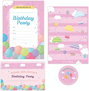 Avamie 20 Pack Pink Birthday Invitations with Envelopes and Stickers, Invitation Cards for Birthday Party