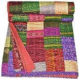 Lndio seda Sari cubrecama, hecha a mano, diseño colorido kanthra, 228,60 x 274,32 cm De Bhagyoday