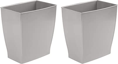 InterDesign Spa Mono Rectangular Trash Can, Waste Basket for Bathroom, Kitchen, Office - Set of 2