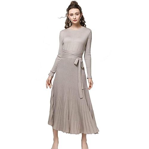 085ece72633331 FINCATI Long Sweater Dress Spring Autumn Cashmere Belt Fitted Waist Big  Swing Midi Dresses