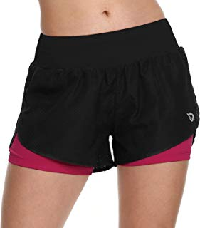Baleaf Women's Running Shorts 2 in 1 Back Pocket Workout Jogging Shorts