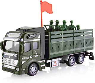 CORPER TOYS Military Truck Army Cars Pull Back Toy Die-cast Metal Alloy Model Car Playset Soldier Transport Vehicle for Boys Kids - 8 Pieces