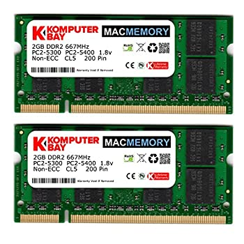 Komputerbay MACMEMORY Apple 4GB Kit  2X 2GB Modules  PC2-5300 667MHz DDR2 SODIMM iMac and MacBook Memory