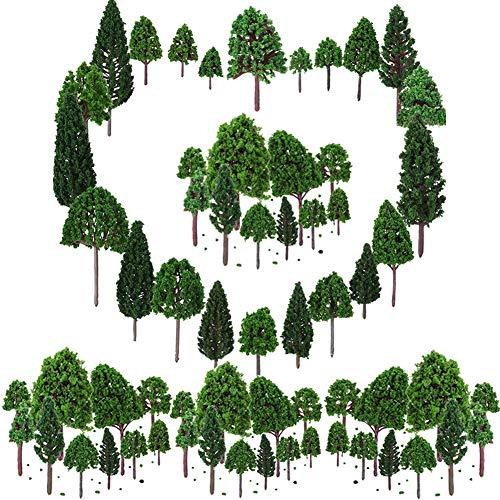 BESTZY 50pcs Gemischtes Bäume Modellbau(30-75mm) Mixed Modell Baum Zug Bäume Eisenbahn Landschaft Diorama Baum Architektur Bäume für DIY Landschaft Natürliche Grün(Nur Baum)