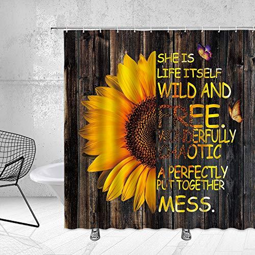 Feierman Retro Sonnenblume Duschvorhang Ölgemälde Blumen mit Motivation Worte Schmetterling Badezimmer Vorhang Stoff Wasserdicht Polyester mit Haken