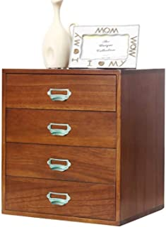 LIUYULONG Armoire de rangement en bois pour dossiers, 4 étages, organiseur de bureau, organiseur de tiroir avec tiroir, po...
