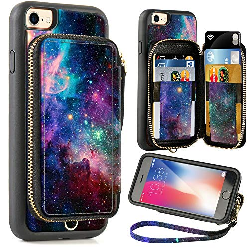 ZVE Wallet Case for Apple iPhone 8 and iPhone 7, 4.7 inch, Zipper Wallet Case with Credit Card Holder Slot Handbag Purse Wrist Strap Print Case for Apple iPhone 8/7 4.7 inch - Starry Sky