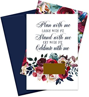 Indigo Floral Scratch-Off Bridesmaid Proposal Cards (Set of 7) with Maid of Honor