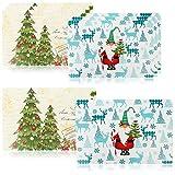 com-four® 8X tovagliette XL per Natale - tovaglietta con Motivi Natalizi - tovagliette all'Americana per Cucina e Sala da Pranzo - tovagliette all'Americana