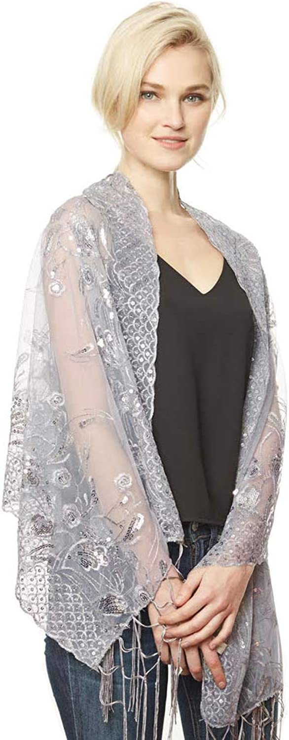 Women's Flower Sequin Decor Evening Wrap Shawl Party Scarf with Tassel