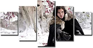 5 Panels Jon Snow Canvas Art Game of Thrones Jon Snow Kit Harrington Wall Art Canvas Print Home Decor