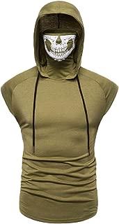 Men's Mask Skull Pure Color Pullover Sleeveless/Long Sleeve Hooded Sweatshirt Tops Blouse