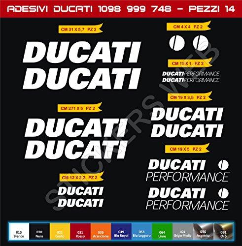 Pimastickerslab Selbstklebend Stickers-Performance Ducati 7488489991098ECC. Kit 14Teile?SCEGLI Colore- Motorrad Cod. 0139 - Bianco cod. 010