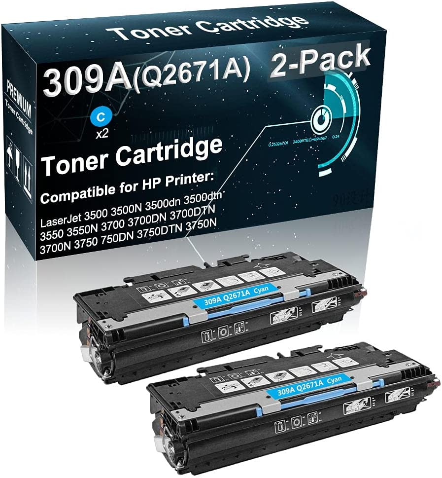 2-Pack (Cyan) Compatible Printer Toner High Yield Replacement for HP (Q2671A) 309A Laser Toner Cartridge Fit for HP Color 3500 3500dn 3550 3700 3700DN 3750 3750N Printer