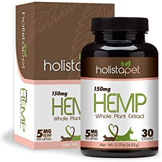 HolistaPet Hemp Capsules for Pets - 600mg, 300mg, and 150mg - 100% Organic Hemp Extract - Dog and Cat Pain Relief - Supports Anxiety, Heart & Health, and Hip & Joint Care - Made in The U.S.A.
