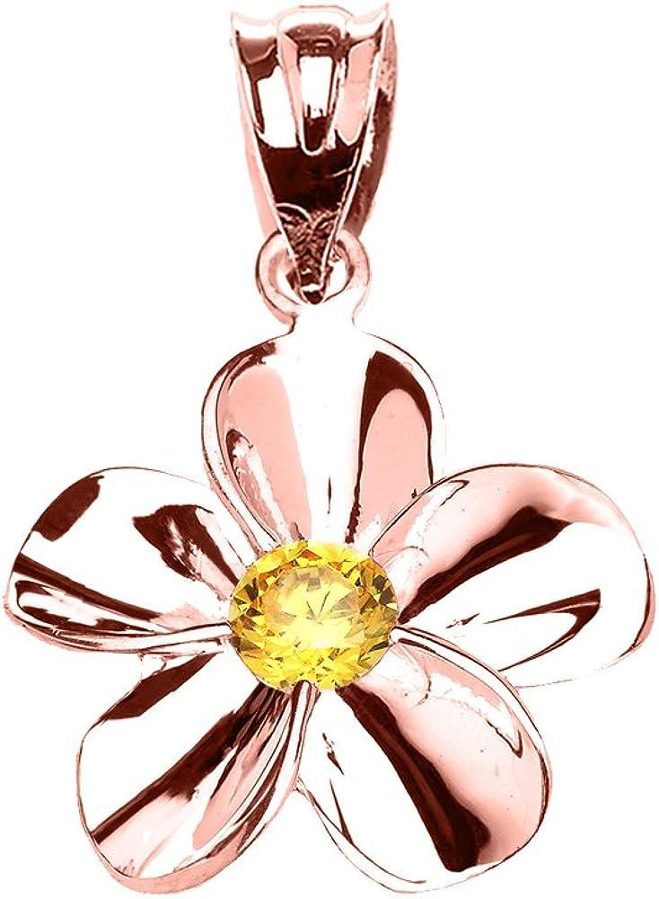 Flower Collection 10k Rose Gold Hawaiian Plumeria Genuine Citrine Dainty Pendant