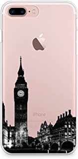 CasesByLorraine iPhone 8 Plus Case, iPhone 7 Plus Case, London City View Clear Transparent Case Big Ben Slim Hard Plastic Back Cover for Apple iPhone 7 Plus & iPhone 8 Plus (A14)