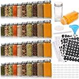 42 Pcs Glass Spice Jars with 810 Spice Labels - 4oz Empty Square Spice Bottles - Shaker Lids and Airtight Metal Caps - Chalk Marker and Silicone Collapsible Funnel Included