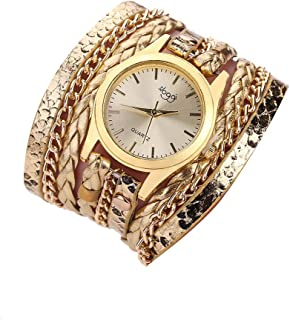 AMERTEER Women's Gold-Tone Watch with Braided Faux Leather Band Genuine Leather Wrist Wrap Watch for Lady and Girls