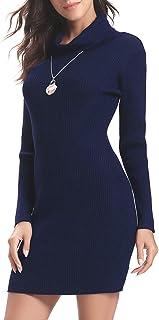 Abollria Vestito Donna Collo Alto Maglione Lungo Invernale Aderente con Manica Lunga Abito Accollato Elegante a Maglia per...