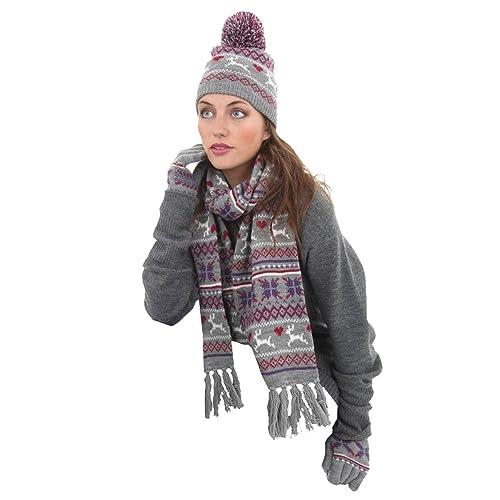 Fran Womens Fairisle Knitted Beanie Hat-Scarf-Glove Winter Set 7371ed29d080