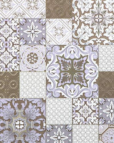 Küchen Bad Tapete EDEM 87001BR14 Vinyltapete leicht strukturiert mit Kachelmuster und metallischen Akzenten bronze perl-brombeer weiß gold 5,33 m2